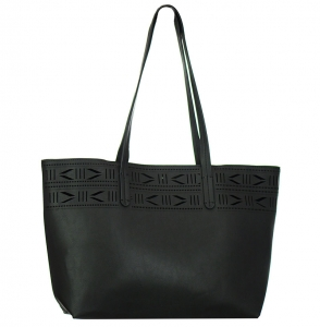 Faux  Leather Tote Bag  BGA6617 37800 Black