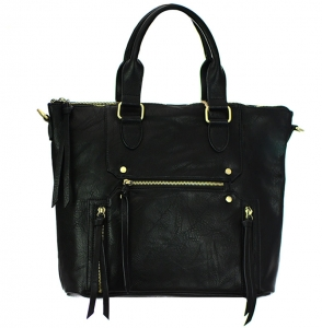 Faux Leather  Shoulder HandBag BGA3514 37804 Black