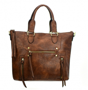 Faux Leather  Shoulder Hand Bag BGA3514 37804 Brown