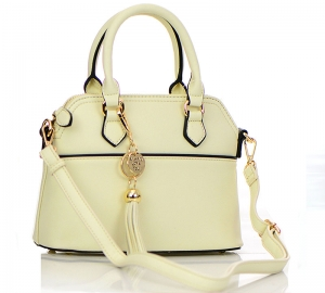 Faux Leather Hand Bag K1040 37810 Beige