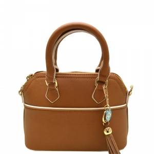 Faux Leather Hand Bag K1040 37810 Camel