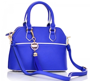 Faux Leather Hand Bag K1040 37810 Royal Blue