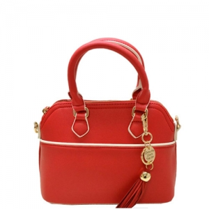 Faux Leather Hand Bag K1040 37810 Light Red