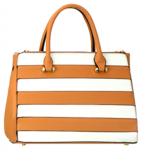 Striped Faux Leather  Shoulder Hand Bag MY6188-1 37841 Tan / White