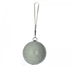 Rhinestone Ball Shape Metal Clutch Purse N16001 37854 Silver