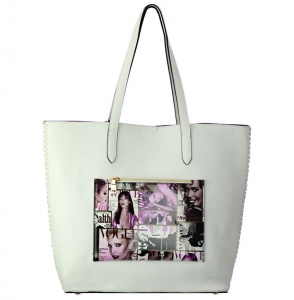 Magazine  Faux Leather Tote Shoulder Handbag T1577 37879 White