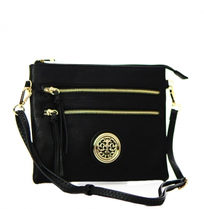 Faux Leather Double Zipper Crossbody Bag 80831A 37887 Black