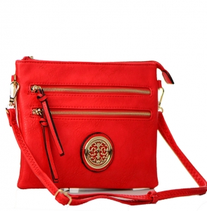 Faux Leather Double Zipper Crossbody Bag 80831A 37887 Red