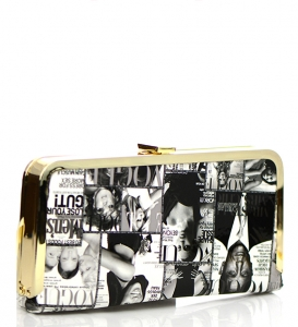 Magazine Print Patent Metal Gold Clutch 37888 White/Black