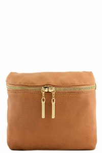 Vegan Leather Clutch Bag WUO33 37984 Camel