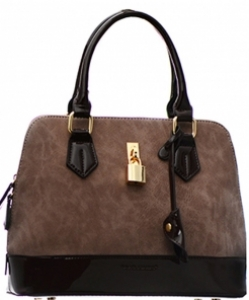 David Jones Patent Leather Handbag CM3215 38019 Caramel /Brown