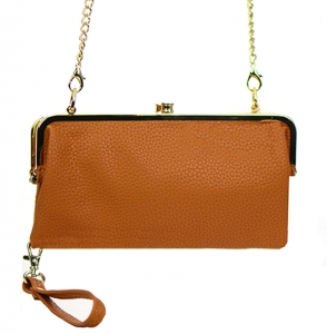 Faux Leather Clutch Wallet Metal Hardware Complements Classic Style US1008 38056 Camel