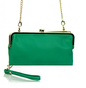 Faux Leather Clutch Wallet Metal Hardware Complements Classic Style US1008 38056 Green