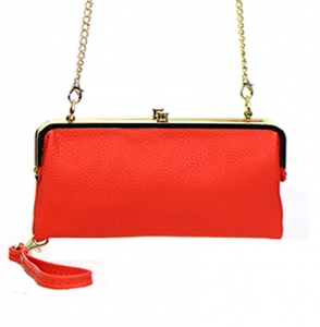 Faux Leather Clutch Wallet Metal Hardware Complements Classic Style US1008 38056 Red