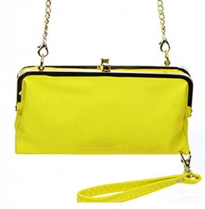 Faux Leather Clutch Wallet Metal Hardware Complements Classic Style US1008 38056 Yellow