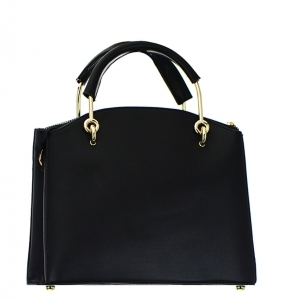 Faux Leather Handbag BH600 38107 Black