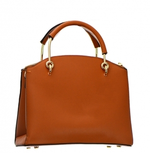 Faux Leather Handbag BH600 38107 Light Coffee