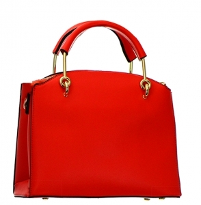 Faux Leather Handbag BH600 38107 Red