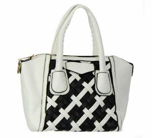 Faux Leather Handbag GBG99-1747JTCL 38155 White/Black