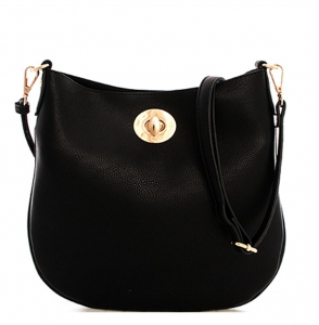 Two In one Faux Leather Handbag KS01 38182 Black