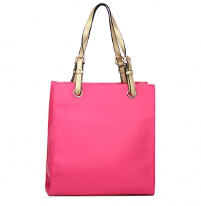 Faux  Leather Tote Bag 59136 38275 Fuchsia Gold