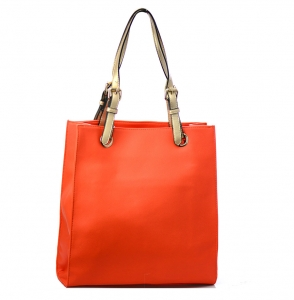 Faux  Leather Tote Bag 59136 38275 Orange /Gold