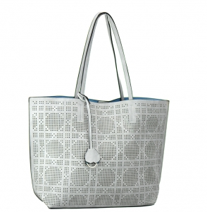 Faux  Leather Tote Bag 62349 38280  Light Grey /Light Blue
