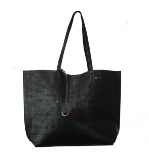 Faux  Leather Tote Bag 62349 38280 Black/Red