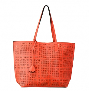 Faux  Leather Tote Bag 62349 38280 Orange Brown