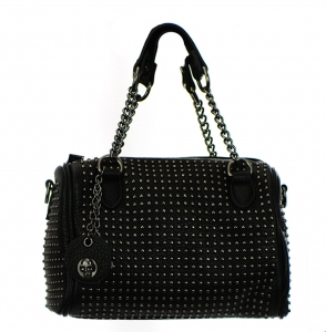 Metal Round Studs Faux Leather Crossbody 3016-CARA 38305 black