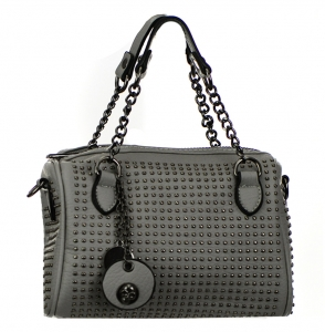 Metal Round Studs Faux Leather Crossbody 3016-CARA 38305 Grey