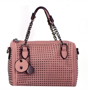 Metal Round Studs Faux Leather Crossbody 3016-CARA 38305 Pink