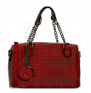 Metal Round Studs Faux Leather Crossbody 3016-CARA 38305 Red