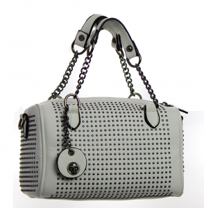 Metal Round Studs Faux Leather Crossbody 3016-CARA 38305 White