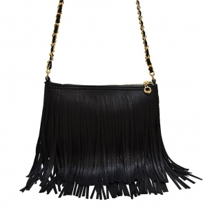 Faux Leather Fringe Hand Bag M031 38319 Black