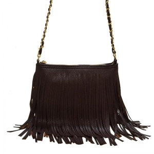 Faux Leather Fringe HandBag M031 38319 Brown