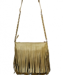Faux Leather Fringe HandBag M031 38319 GOLD