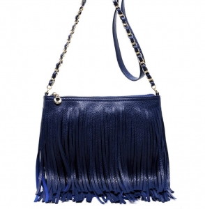 Faux Leather Fringe HandBag M031 38319 Navy