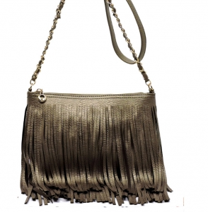 Faux Leather Fringe Hand Bag M031 38319 Pewter