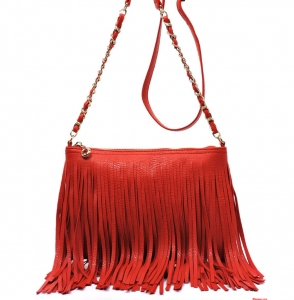 Faux Leather Fringe HandBag M031 38319 Red