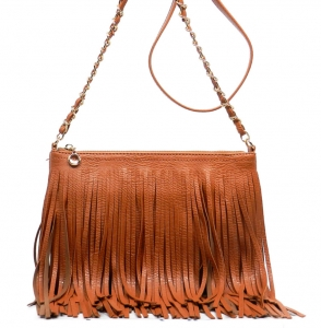 Faux Leather Fringe Hand Bag M031 38319 Saddle