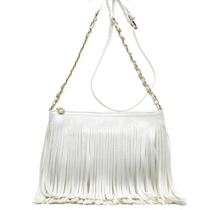 Faux Leather Fringe Hand Bag M031 38319 White