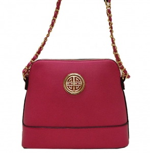 Faux Leather Crossbody Bag K026S 38326 -Fuschia