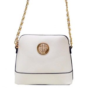 Faux Leather Crossbody Bag K026S 38326 - White