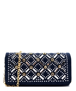 Faux Leather Wallet with Rhinestones YL310W 38485  - Denim