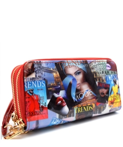 Magazine Print Patent Leather Wallet EU200W 38524 Red