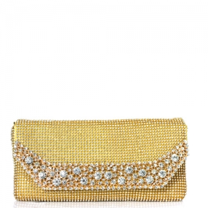 Rhinestone Clutch Purse 0002 39300 Gold