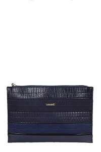David Jones Faux Leather With Texture Patterned Clutch  52671 38643 Blue