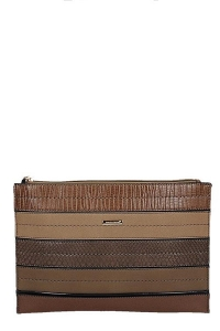 David Jones Faux Leather With Texture Patterned Clutch  52671 38643 Brown