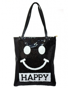 Fun Smily Face  Faux Leather Tote Bag HB017 38743 Black